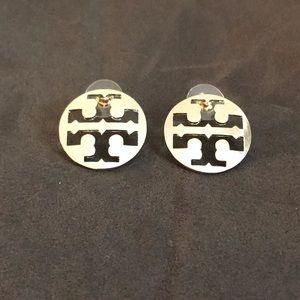 New Authentic Tory Burch T Logo Earrings